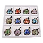Innen Blume Lampwork Anhänger, Blatt, gemischte Farben, 50.50x35.50x12.50mm, Bohrung:ca. 7mm, 12PCs/Box, verkauft von Box