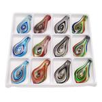 Goldsand & Silberfolie Lampwork Anhänger, Blatt, Goldsand und Silberfolie, gemischte Farben, 62.50x34x8mm, Bohrung:ca. 7mm, 12PCs/Box, verkauft von Box