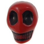 Antike Acrylperlen, Acryl, Schädel, opark, antik imitieren, rot, 14x18x17.50mm, Bohrung:ca. 2.8mm, 187PCs/Tasche, verkauft von Tasche