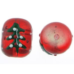 Weihnachten Lampwork Perlen, Trommel, 14x17.80mm, Bohrung:ca. 1.8mm, verkauft von PC