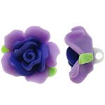 Polymer Ton Perlen , Blume, violett, 31x21mm, Bohrung:ca. 4mm, 100PCs/Tasche, verkauft von Tasche
