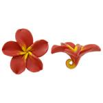 Polymer Ton Perlen , Blume, orange, 52.50x50x22.50mm, Bohrung:ca. 5mm, 100PCs/Tasche, verkauft von Tasche