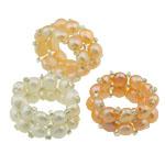 Süßwasserperlen Fingerring, Natürliche kultivierte Süßwasserperlen, mit Glas-Rocailles, gemischte Farben, 13mm, Größe:8, 10PCs/Tasche, verkauft von Tasche