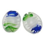 Innerer Twist Lampwork Perlen, oval, handgemacht, innen Twist, 22x18x9mm, Bohrung:ca. 2mm, 100PCs/Tasche, verkauft von Tasche