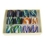 Lampwork Fingerring, Silberfolie, gemischte Farben, 27x27x26mm, Bohrung:ca. 17mm, Größe:7, 12PCs/Box, verkauft von Box
