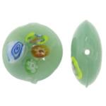 Millefiori Scheibe Lampwork Perlen, flache Runde, 20x20x9mm, Bohrung:ca. 1.5mm, 100PCs/Tasche, verkauft von Tasche