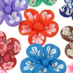 Polymer Ton Perlen , Blume, gemischte Farben, 21x8-24x12mm, Bohrung:ca. 1-2mm, 100PCs/Tasche, verkauft von Tasche