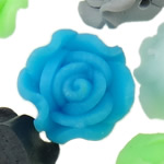 Polymer Ton Perlen , Blume, gemischte Farben, 12x9-14x10mm, Bohrung:ca. 1-2mm, 100PCs/Tasche, verkauft von Tasche