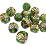 Goldfolie Lampwork Perlen, Rondell, 15x13mm, Bohrung:ca. 3mm, 100PCs/Tasche, verkauft von Tasche