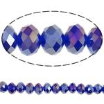Klasse AA Kristallperlen, Kristall, Rondell, AB Farben platiniert, facettierte & AA grade crystal, tiefblau, 6x8mm, Bohrung:ca. 1mm, Länge:17 ZollInch, 10SträngeStrang/Tasche, verkauft von Tasche