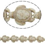 Türkis Perlen, Synthetische Türkis, Schildkröter, weiß, 18x14x7.50mm, Bohrung:ca. 1.5mm, ca. 24PCs/Strang, verkauft per ca. 15 ZollInch Strang
