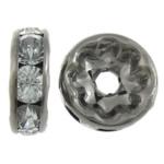 Strass Zwischenstück, Messing, Kreisring, metallschwarz plattiert, mit Strass, 10x10x3.50mm, Bohrung:ca. 2.2mm, 500PCs/Tasche, verkauft von Tasche