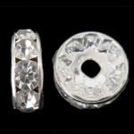 Strass Zwischenstück, Messing, Kreisring, silberfarben plattiert, mit Strass, frei von Nickel, Blei & Kadmium, 6x6x3mm, Bohrung:ca. 1.2mm, 1000PCs/Tasche, verkauft von Tasche