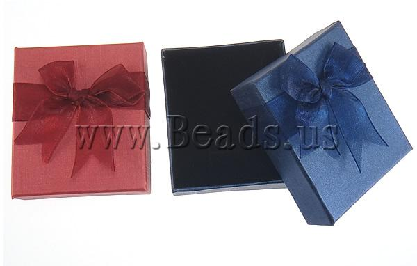 Buy Cardboard Jewelry Set Box pendant & finger ring & earring & necklace Rectangle mixed colors 80x70x30mm 2 Sold Lot