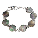 Fashion Shell Bracelet, link style, with brass setting & toggle clasp, nickel, lead & cadmium free, 17mm, Sold by Bag