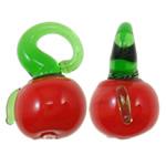 Pflanzen Lampwork Anhänger, Gemüse, rot, 16x12x10.50mm, Bohrung:ca. 3.5x4mm, 200PCs/Tasche, verkauft von Tasche