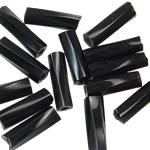 Bugles Seed Perlen drehen, Glas-Rocailles, Rohr, transparent & Twist, schwarz, 2x6mm, Bohrung:ca. 1mm, verkauft von Tasche