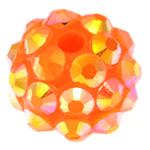Harz Strass Perlen, Trommel, mit Strass, orange, 10x12mm, Bohrung:ca. 2mm, 100PCs/Tasche, verkauft von Tasche