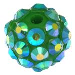 Harz Strass Perlen, Trommel, grün, 10x12mm, Bohrung:ca. 2mm, 100PCs/Tasche, verkauft von Tasche