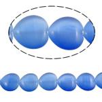 Cats Eye Perlen Schmuck, Katzenauge, Herz, blau, 20x20x6mm, Bohrung:ca. 2mm, ca. 19PCs/Strang, verkauft per ca. 14.9 ZollInch Strang
