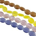 Cats Eye Perlen Schmuck, Katzenauge, flachoval, gemischte Farben, 10x8x4mm, Bohrung:ca. 1mm, Länge:ca. 15.0 ZollInch, 10SträngeStrang/Tasche, ca. 38PCs/Strang, verkauft von Tasche