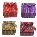 Karton Ringkasten, Papier, Rechteck, mit Muster von runden Punkten, gemischte Farben, 51x50x31mm, 72PCs/Menge, verkauft von Menge