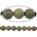 Unakit Perlen, Unakite, rund, natürlich, importiert, 12mm, Bohrung:ca. 1.2mm, Länge:ca. 15 ZollInch, 10SträngeStrang/Menge, ca. 32PCs/Strang, verkauft von Menge