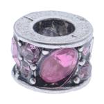 Strass Perlen European Stil, Zinklegierung, Zylinder, ohne troll & mit Strass, 10x7mm, Bohrung:ca. 5mm, 10PCs/Tasche, verkauft von Tasche