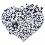 Zinklegierung Herz Anhänger, mit Strass, frei von Blei & Kadmium, 46x50x11mm, Bohrung:ca. 3mm, verkauft von PC