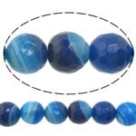 Natürliche blaue Achat Perlen, Blauer Achat, rund, Maschine facettiert & Streifen, 10mm, Bohrung:ca. 1-1.5mm, Länge:15 ZollInch, 5SträngeStrang/Menge, verkauft von Menge