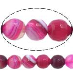 Natürliche Rosa Achat Perlen, rund, Maschine facettiert & Streifen, 6mm, Bohrung:ca. 0.8-1mm, Länge:ca. 15 ZollInch, 10SträngeStrang/Menge, verkauft von Menge
