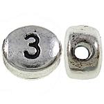 Zink Legierung Alphabet Perlen, Zinklegierung, oval, antik silberfarben plattiert, frei von Nickel, Blei & Kadmium, 6x7x4mm, Bohrung:ca. 1.5mm, 1400PCs/kg, verkauft von kg