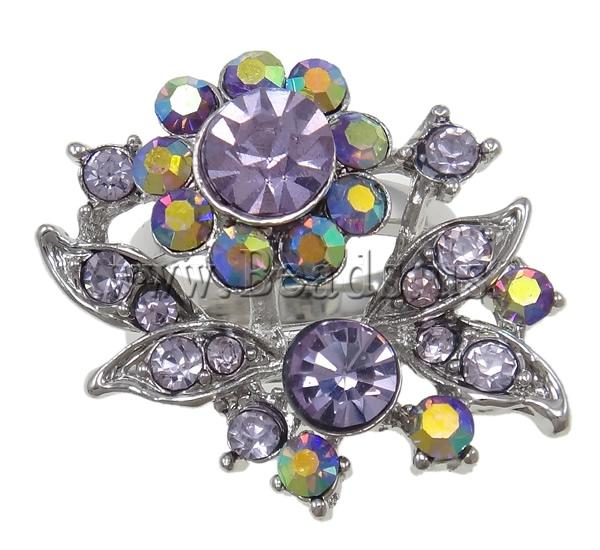 Buy Zinc Alloy Finger Ring Flower platinum color plated different size choice & rhinestone nickel lead & cadmium free 29x27x25mm Hole:Approx 18mm Inner Diameter:Approx 18mm 12PCs/Bag Sold Bag