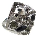 Zinklegierung Fingerring , Raute, Platinfarbe platiniert, verschiedene Größen vorhanden & mit Strass, frei von Nickel, Blei & Kadmium, 26x28.50x28.50mm, Innendurchmesser:ca. 18mm, 12PCs/Tasche, verkauft von Tasche