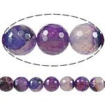 Natürliche violette Achat Perlen, Violetter Achat, rund, facettierte, 12mm, Bohrung:ca. 1.3mm, Länge:ca. 15.5 ZollInch, 5SträngeStrang/Menge, verkauft von Menge