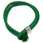 Lederband Armband, Leder, mit Kristall, Zinklegierung Verschluss, Platinfarbe platiniert, grün, frei von Nickel, Blei & Kadmium, 14mm, verkauft per 8.5 ZollInch Strang