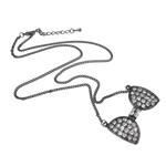Zinklegierung Schmuck Halskette, mit Eisen, Zinklegierung Karabinerverschluss, Schleife, metallschwarz plattiert, mit Strass, frei von Nickel, Blei & Kadmium, 26x43x4mm, verkauft per 20 ZollInch Strang