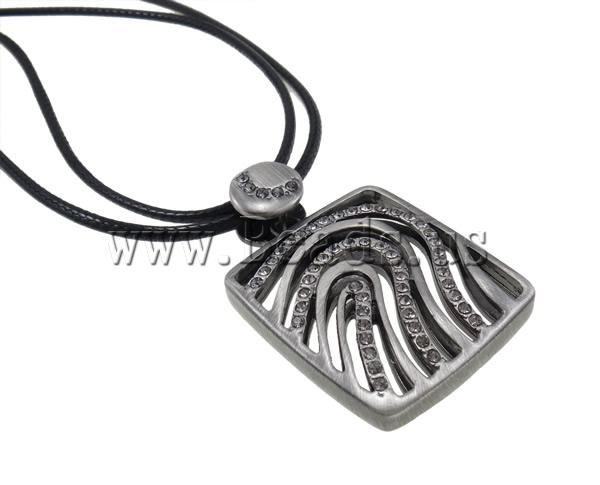 Buy Zinc Alloy Jewelry Necklace Wax Cord zinc alloy lobster clasp Rectangle plumbum black color plated rhinestone nickel lead & cadmium free 40x32x6mm Sold Per 22.5 Inch Strand