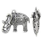 Zinklegierung Tier Anhänger, Elephant, antik silberfarben plattiert, hohl, frei von Blei & Kadmium, 26x21x9mm, Bohrung:ca. 2mm, 10PCs/Tasche, verkauft von Tasche