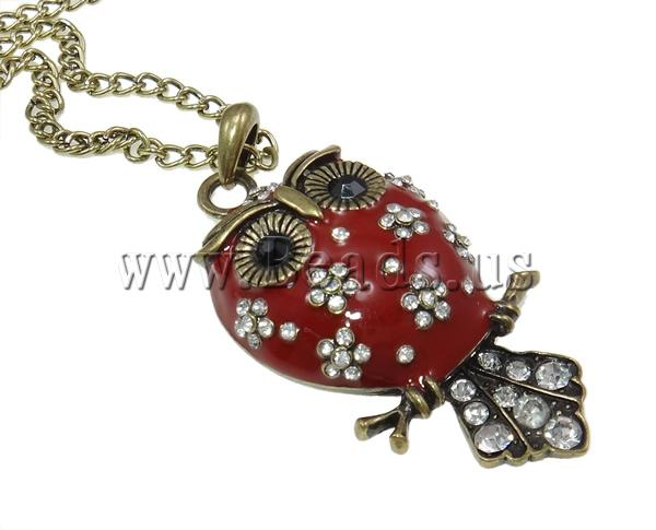 Buy Zinc Alloy Jewelry Necklace enamel & Iron zinc alloy lobster clasp Owl antique bronze color plated rhinestone nickel lead & cadmium free 60x31x11mm Sold Per 24 Inch Strand