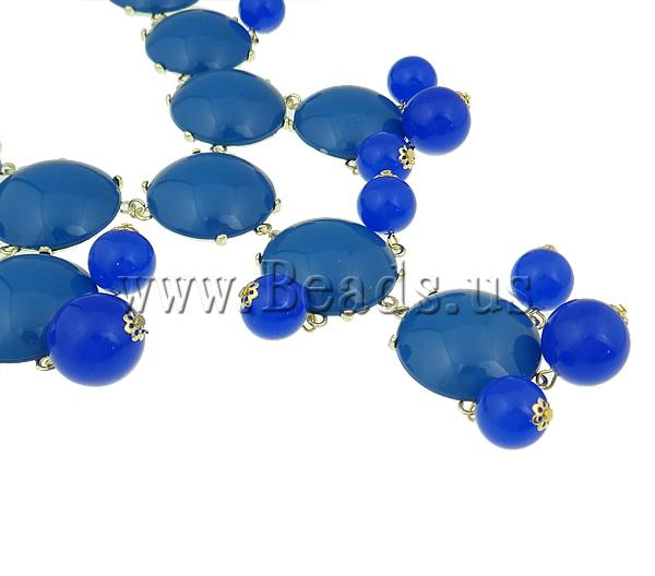 Buy Fashion Statement Necklace Zinc Alloy Resin & Iron zinc alloy lobster clasp gold color plated blue nickel lead & cadmium free 32x33x9mm Sold Per 18.5 Inch Strand