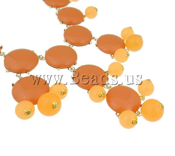 Buy Fashion Statement Necklace Zinc Alloy Resin & Iron & Acrylic zinc alloy lobster clasp gold color plated orange nickel lead & cadmium free 32x33x9mm Sold Per 18.5 Inch Strand