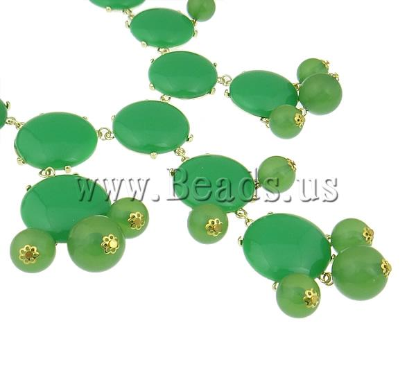 Buy Fashion Statement Necklace Zinc Alloy Resin & Iron & Acrylic zinc alloy lobster clasp gold color plated green nickel lead & cadmium free 32x33x9mm Sold Per 18.5 Inch Strand