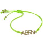 Zinklegierung Armband, mit Wachsschnur, Buchstabe, goldfarben plattiert, grün, frei von Nickel, Blei & Kadmium, 31x8.50x2mm, verkauft per ca. 7.5 ZollInch Strang