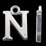 Zinklegierung Buchstaben Anhänger, silberfarben plattiert, frei von Nickel, Blei & Kadmium, 14.50x11x2mm, Bohrung:ca. 2mm, 10PCs/Tasche, verkauft von Tasche