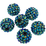 Harz Strass Perlen, Trommel, AB Farben platiniert, dunkelgrün, 16x18mm, Bohrung:ca. 2.5mm, 100PCs/Tasche, verkauft von Tasche
