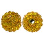 Strass Ton befestigte Perlen, rund, mit Strass, orange, 10mm, Bohrung:ca. 2mm, 10PCs/Tasche, verkauft von Tasche