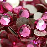 Kristall Eisen auf Nagelkopf, Dom, flache Rückseite & facettierte, Rosa, Grade A, 6.4-6.6mm, 2Grosses/Tasche, 144PCs/brutto, verkauft von Tasche