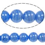 Plattierte Lampwork Perlen, rund, blau, 16mm, Bohrung:ca. 1-2.5mm, Länge:ca. 12.8 ZollInch, 10SträngeStrang/Tasche, verkauft von Tasche