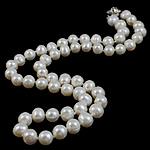 Natürliche Süßwasserperlen Halskette, Natürliche kultivierte Süßwasserperlen, Messing Bajonettverschluss, oval, weiß, 7-8mm, verkauft per 16.5 ZollInch Strang